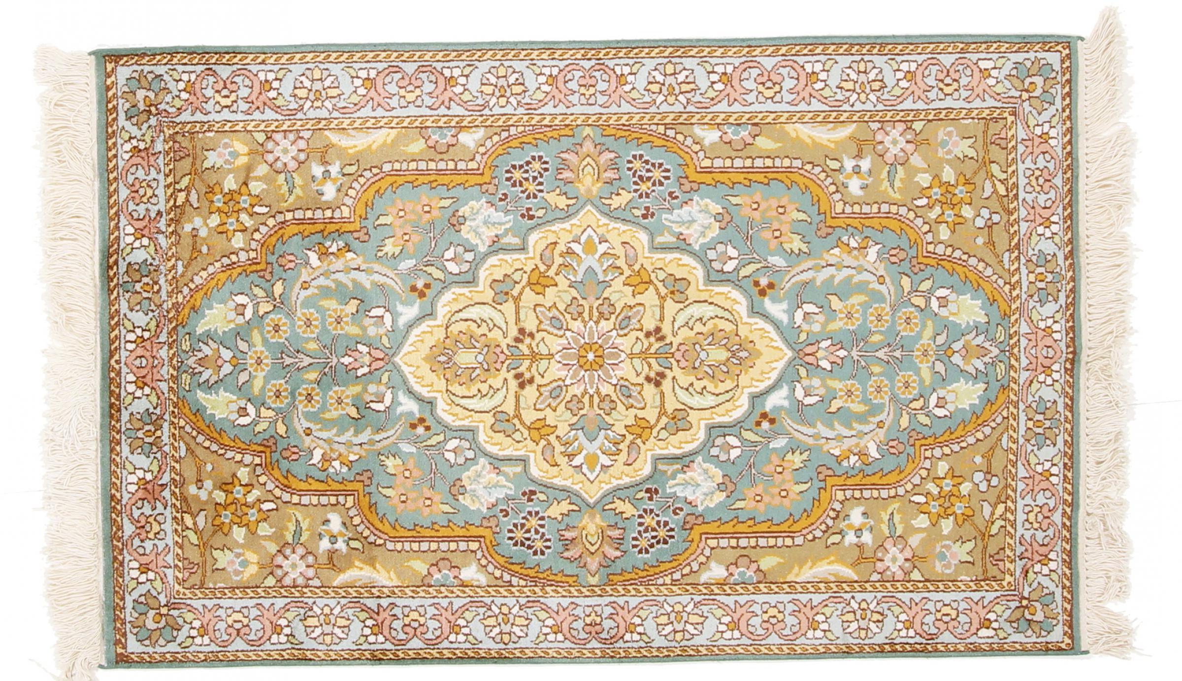 kaschmir reine seide indischer teppich 123x79 id34651. Black Bedroom Furniture Sets. Home Design Ideas