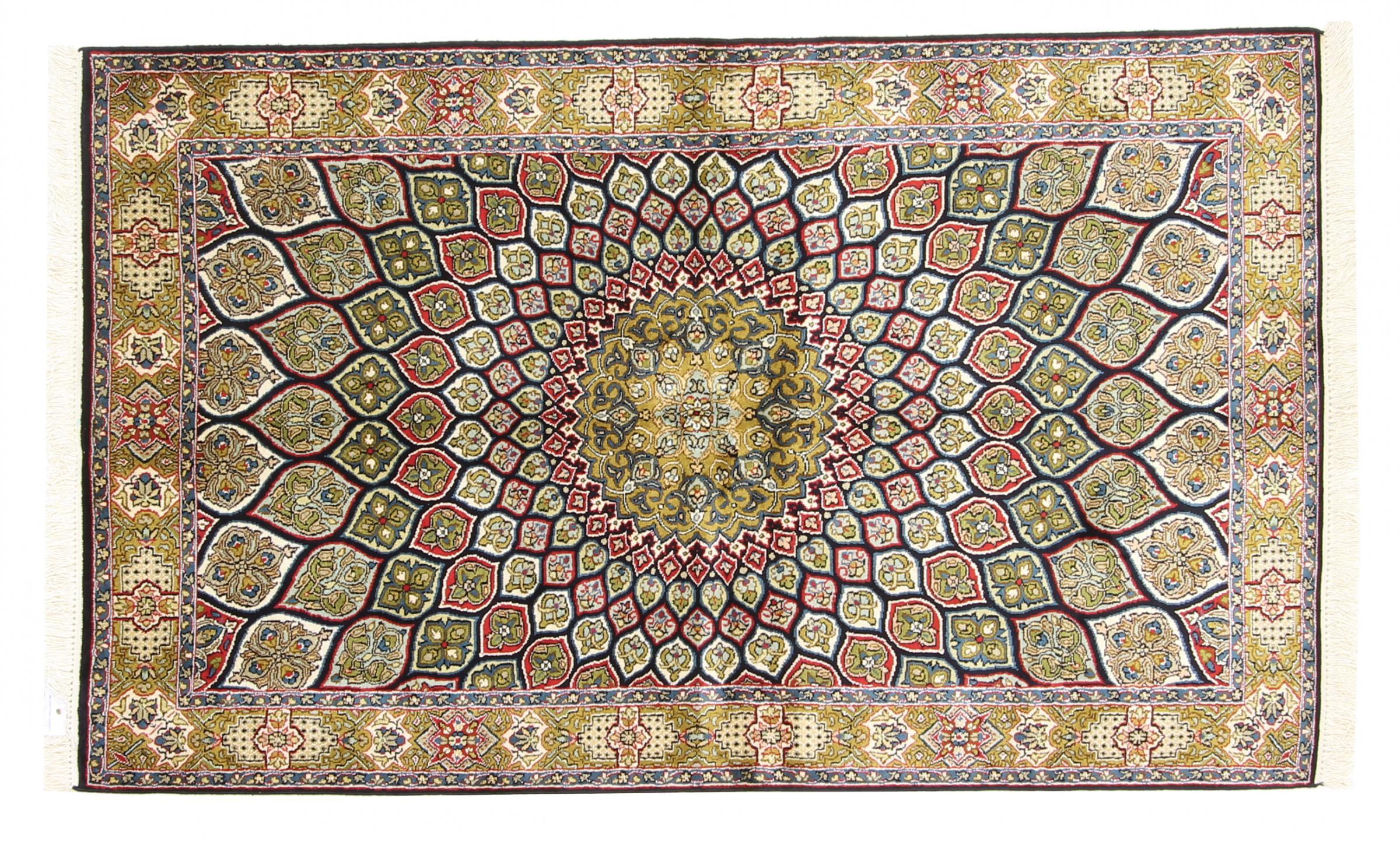 kaschmir reine seide indischer teppich 153x93 id33747. Black Bedroom Furniture Sets. Home Design Ideas