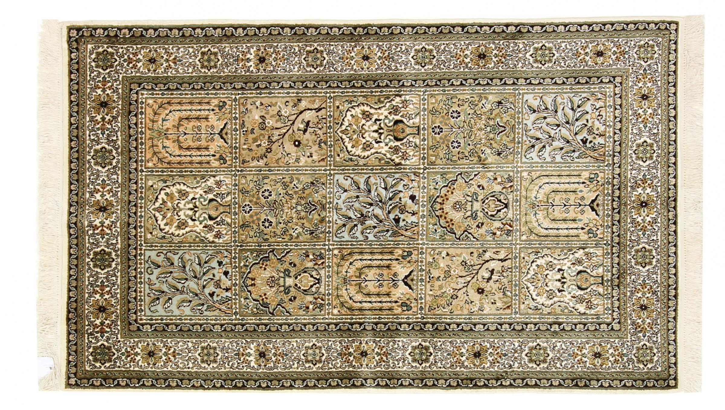 kaschmir reine seide indischer teppich 152x92 id33749. Black Bedroom Furniture Sets. Home Design Ideas