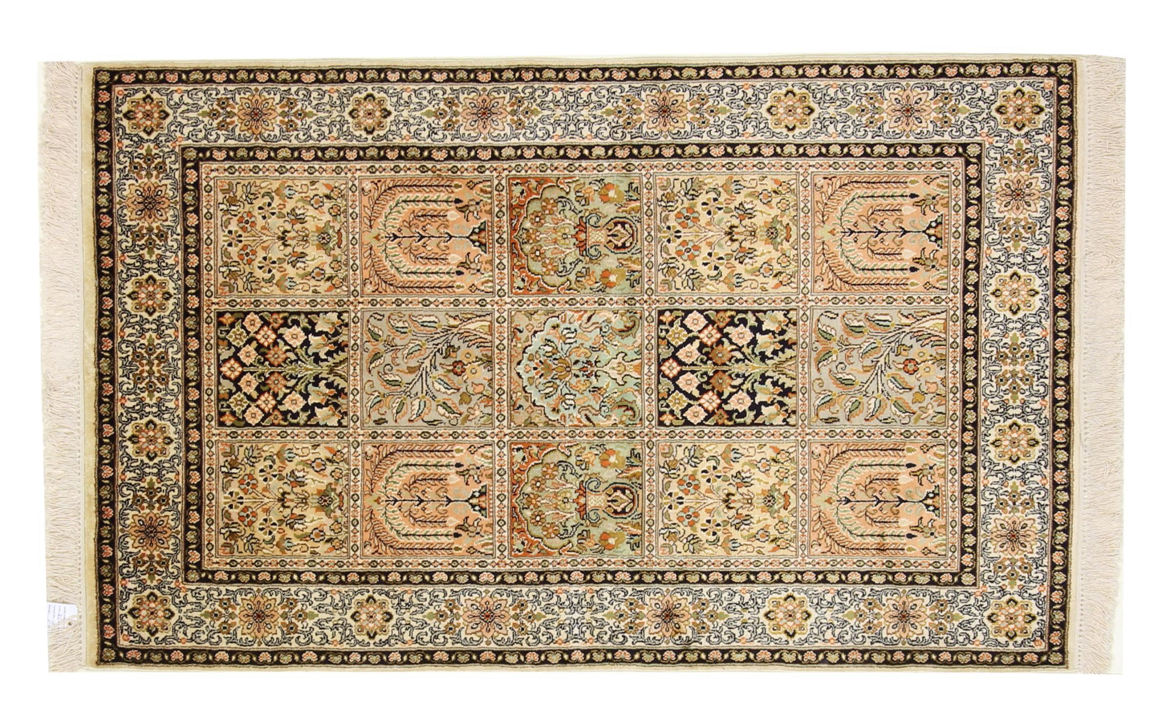 kaschmir reine seide indischer teppich 152x94 id33750. Black Bedroom Furniture Sets. Home Design Ideas