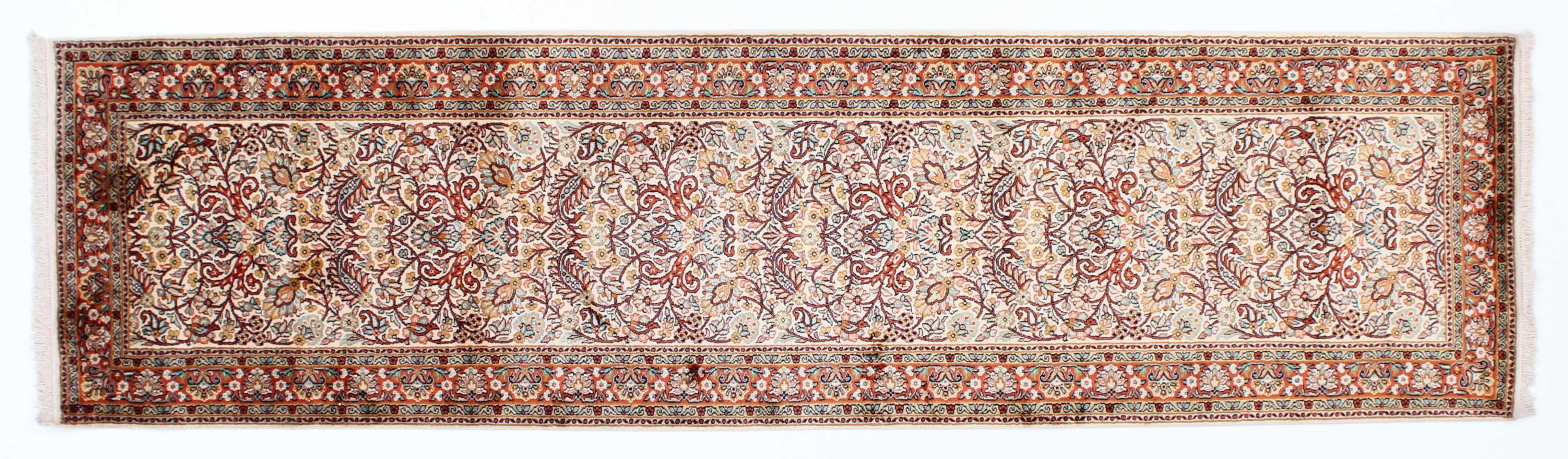kaschmir reine seide indischer teppich 312x83 id23987. Black Bedroom Furniture Sets. Home Design Ideas