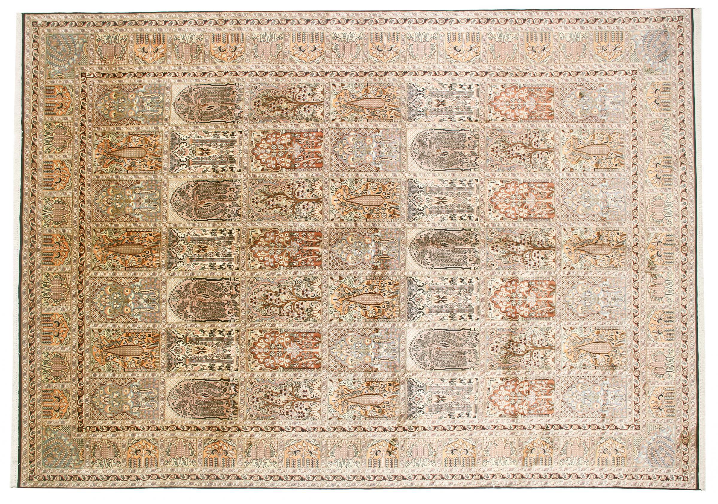 kaschmir reine seide indischer teppich 343x246 id33016. Black Bedroom Furniture Sets. Home Design Ideas