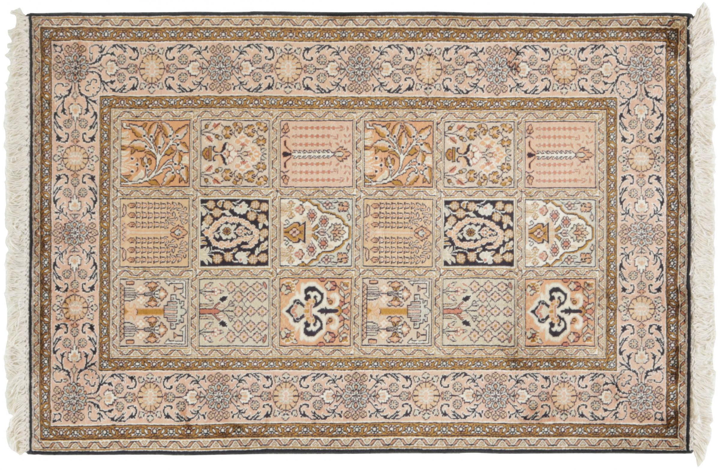 kaschmir reine seide indischer teppich 120x80 id33914. Black Bedroom Furniture Sets. Home Design Ideas