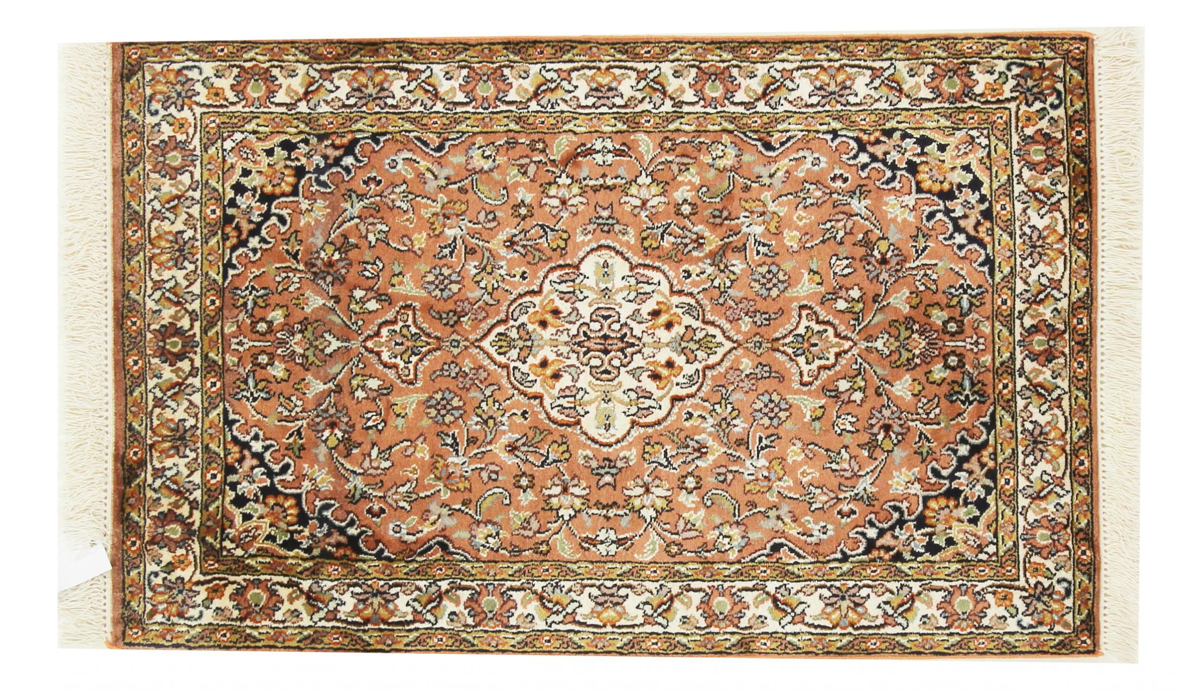 kaschmir reine seide indischer teppich 96x59 id33663. Black Bedroom Furniture Sets. Home Design Ideas