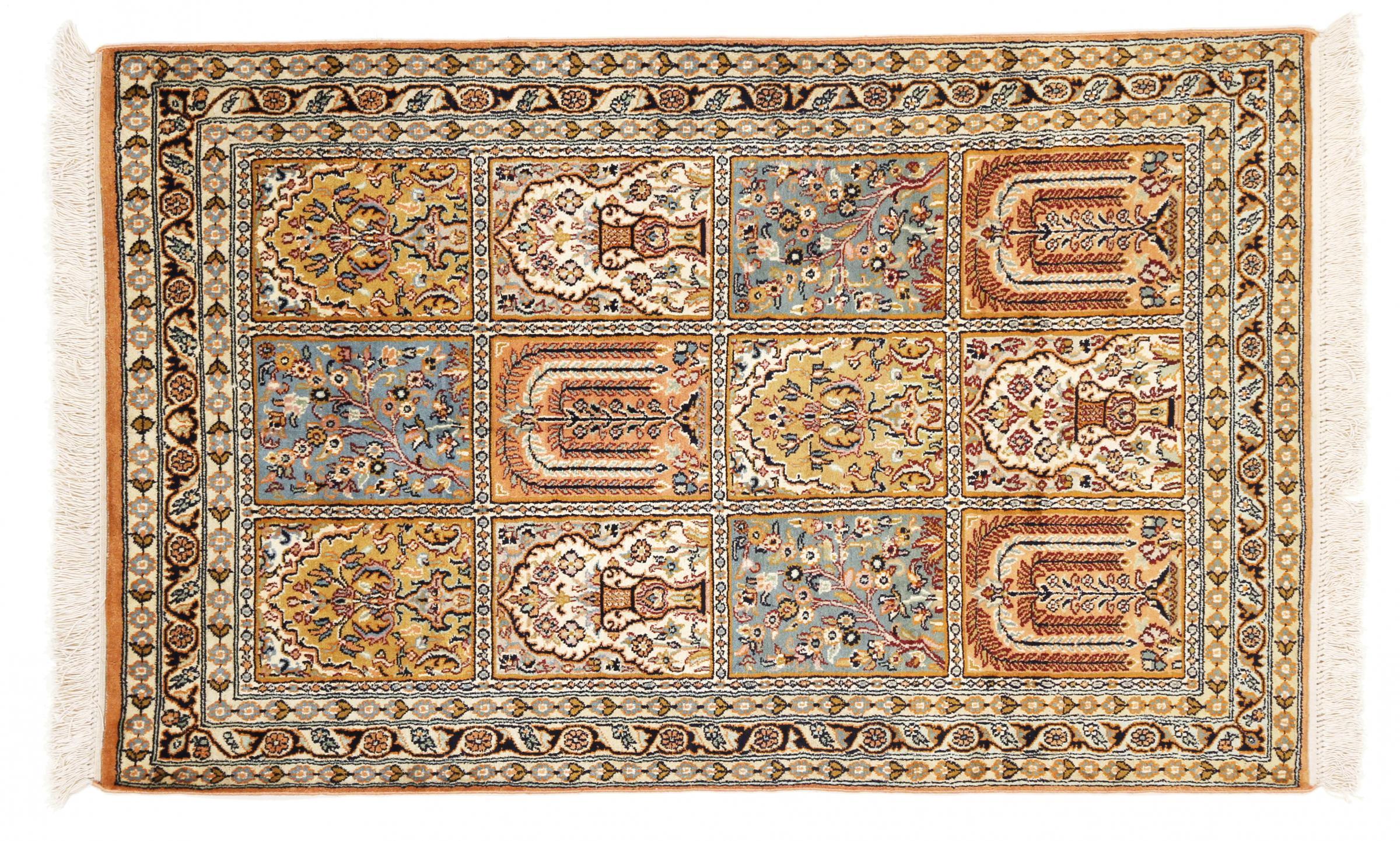kaschmir reine seide indischer teppich 124x77 id35161. Black Bedroom Furniture Sets. Home Design Ideas