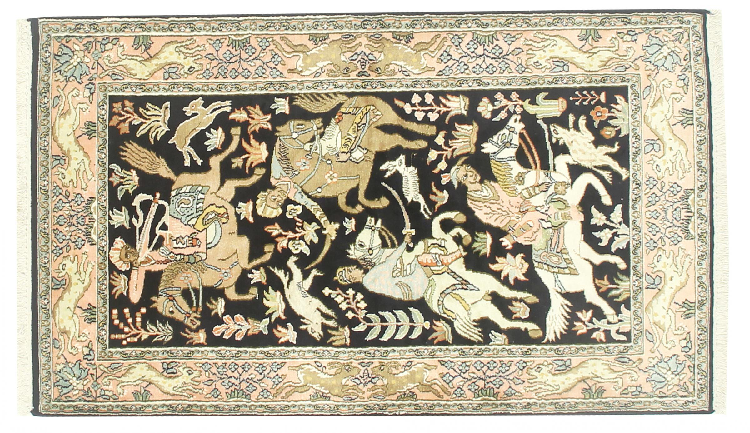 kaschmir reine seide indischer teppich 130x78 id33035. Black Bedroom Furniture Sets. Home Design Ideas