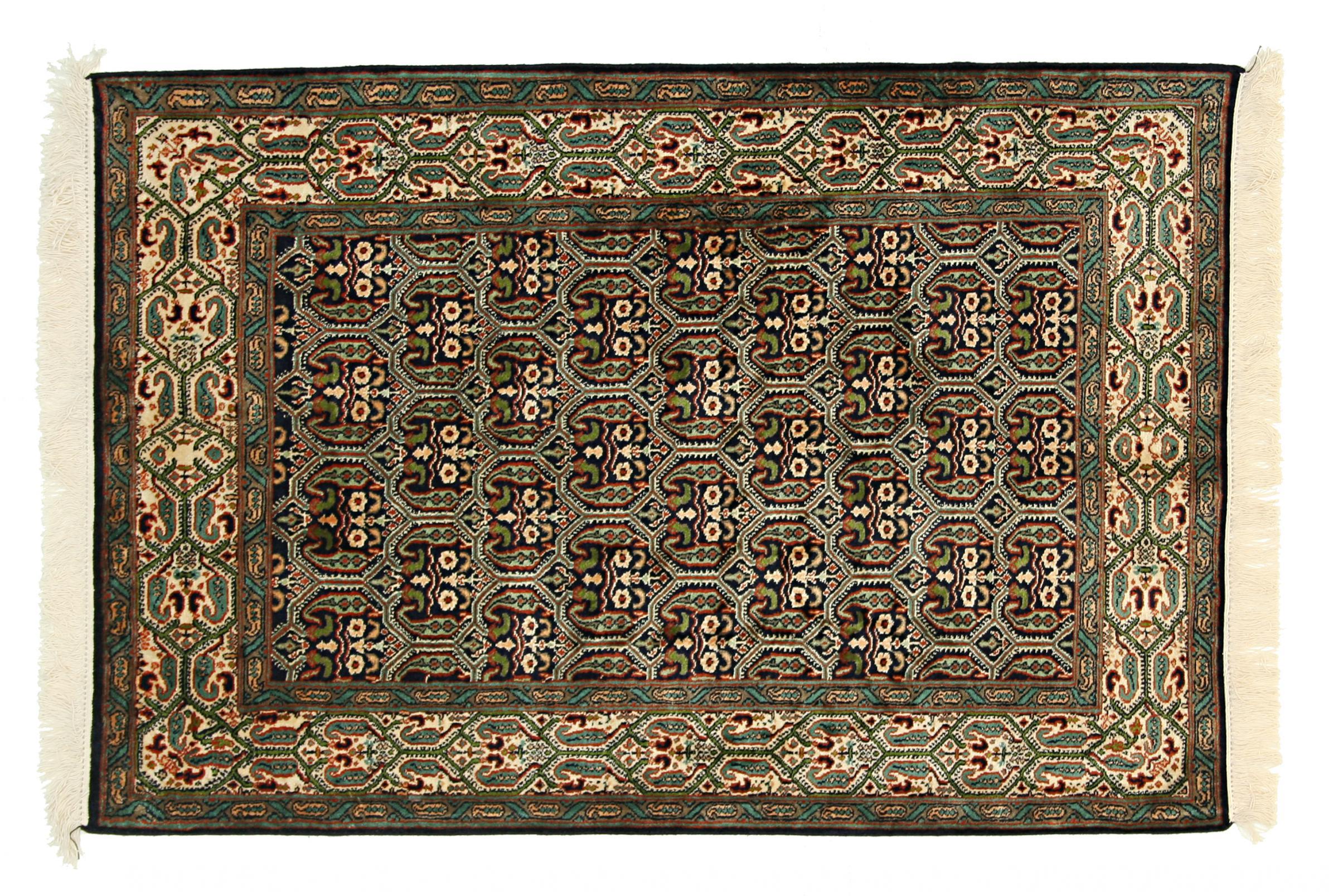 kaschmir reine seide indischer teppich 120x81 id26083. Black Bedroom Furniture Sets. Home Design Ideas