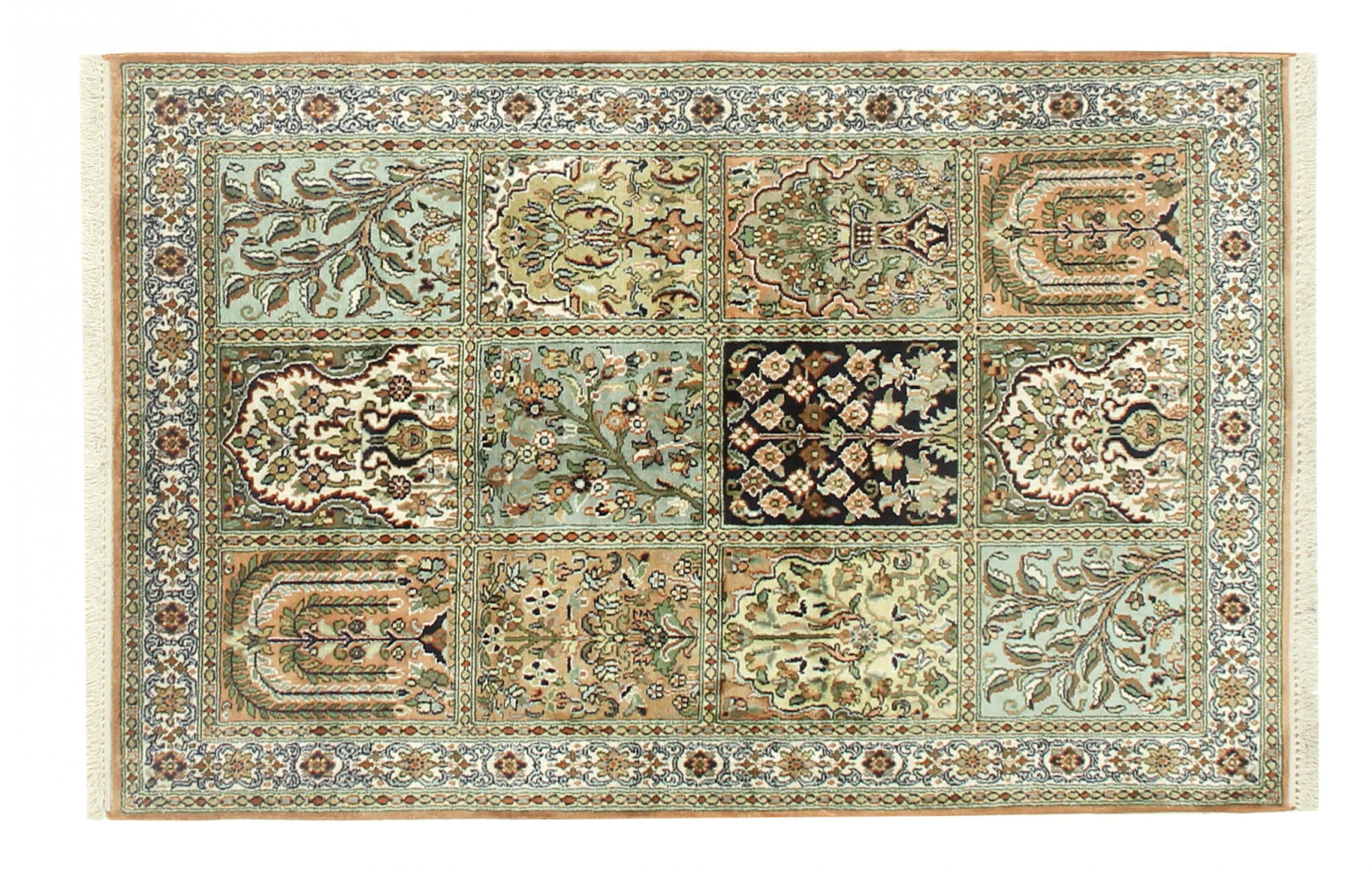 kaschmir reine seide indischer teppich 127x82 id33039. Black Bedroom Furniture Sets. Home Design Ideas