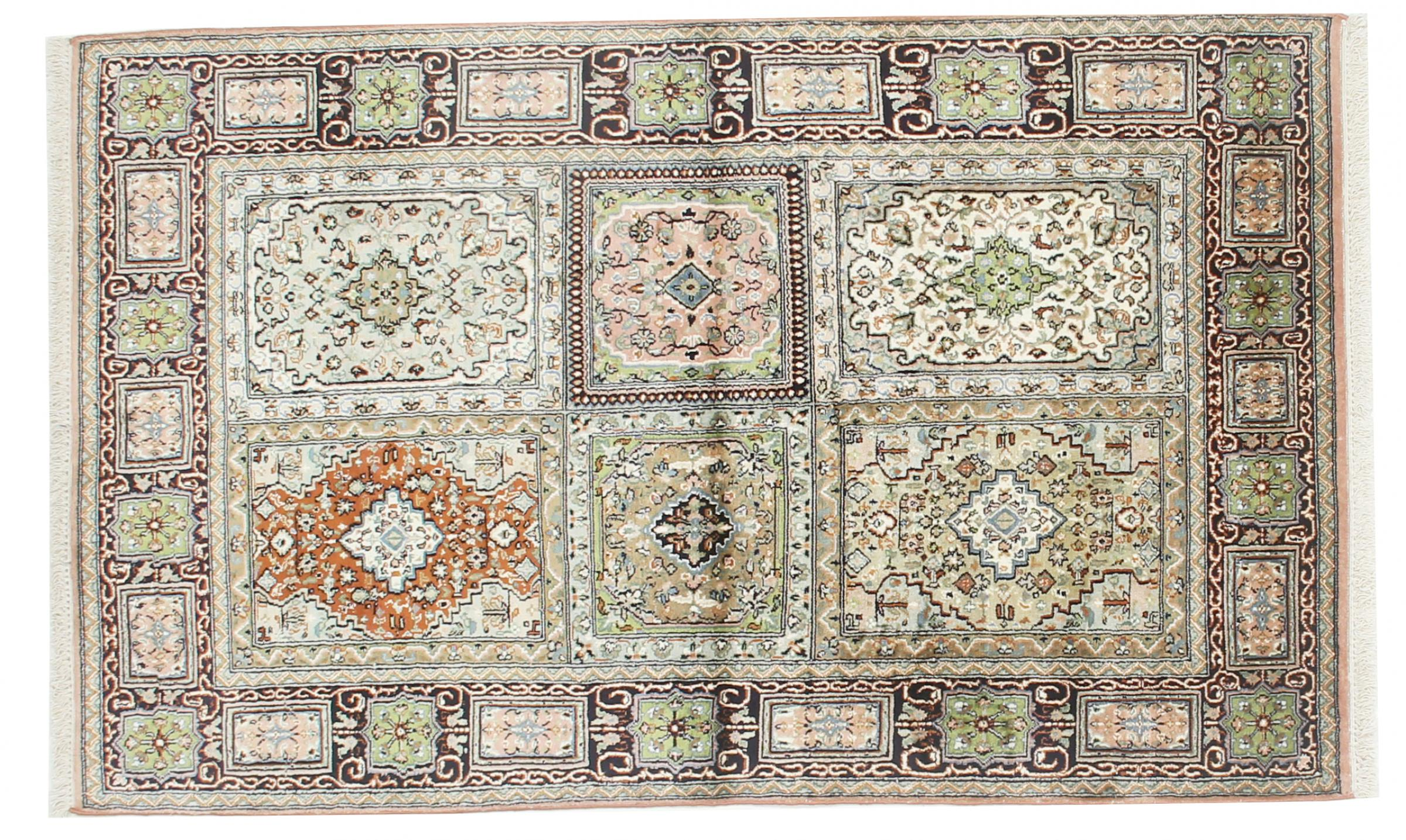 kaschmir reine seide indischer teppich 156x96 id33047. Black Bedroom Furniture Sets. Home Design Ideas