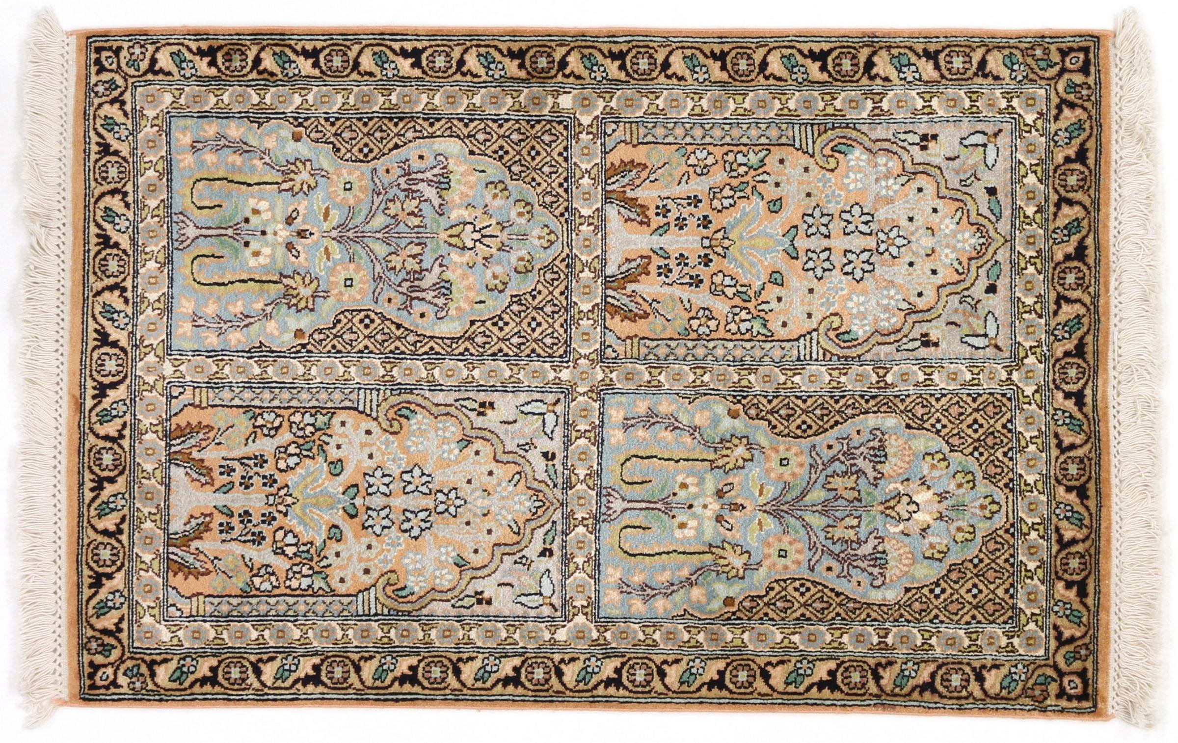 kaschmir reine seide indischer teppich 95x62 id20051. Black Bedroom Furniture Sets. Home Design Ideas