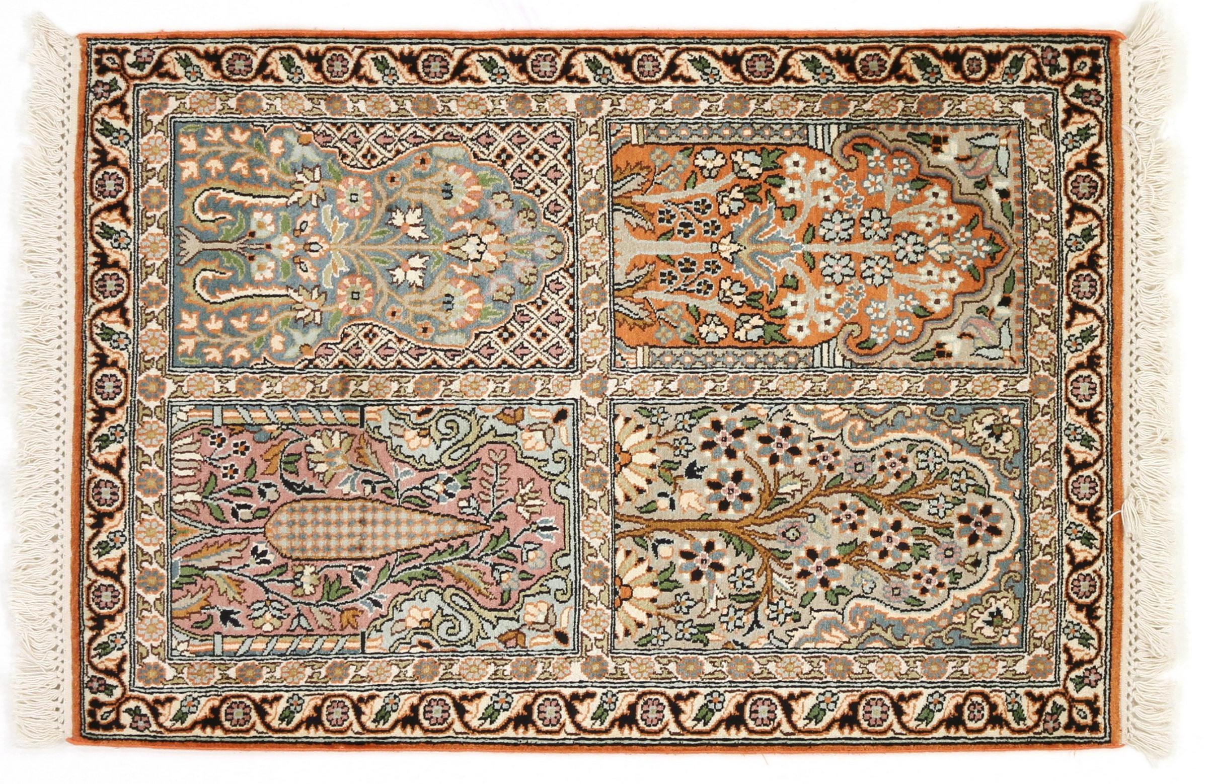 kaschmir reine seide indischer teppich 96x66 id20176. Black Bedroom Furniture Sets. Home Design Ideas