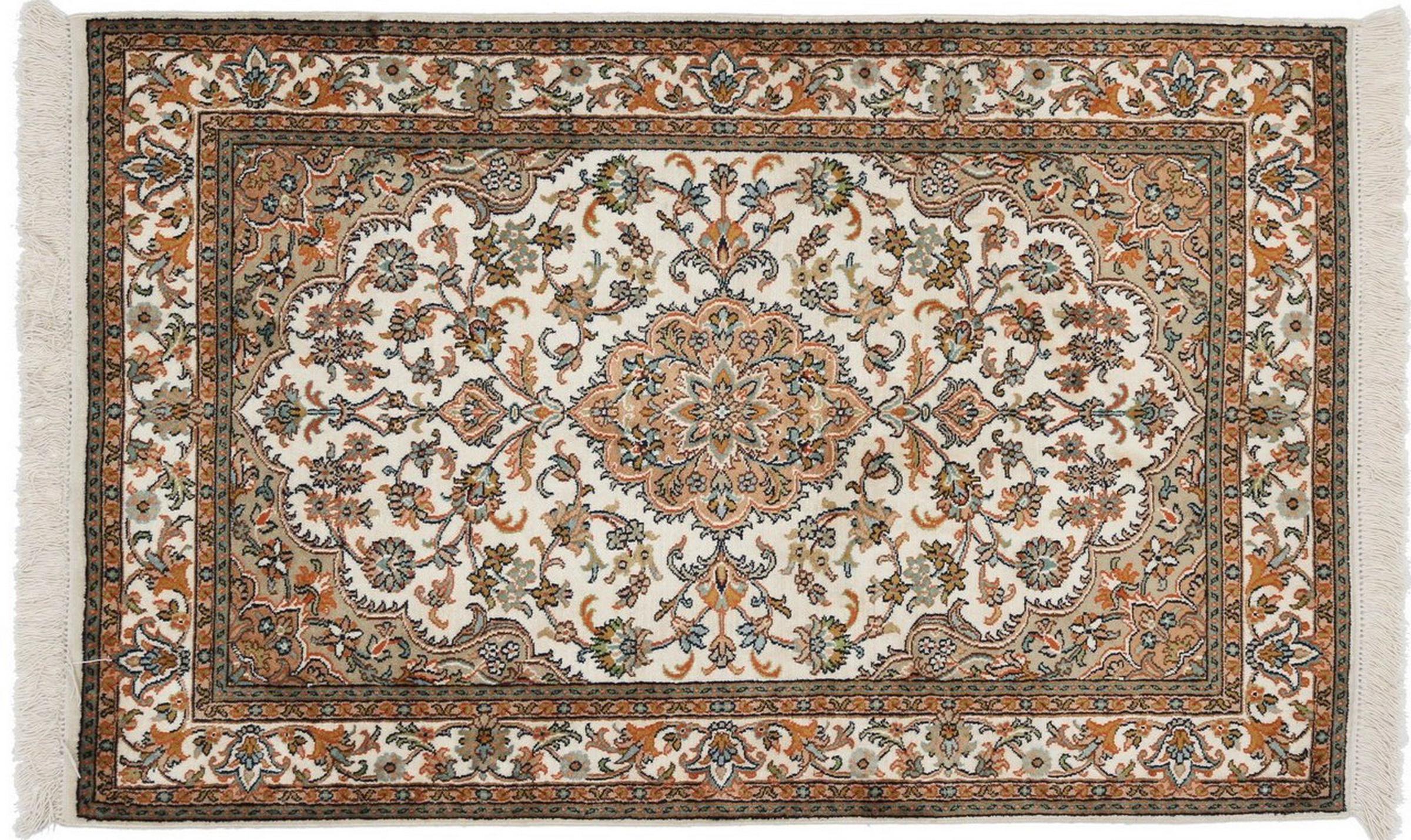 kaschmir reine seide indischer teppich 128x81 id20064. Black Bedroom Furniture Sets. Home Design Ideas