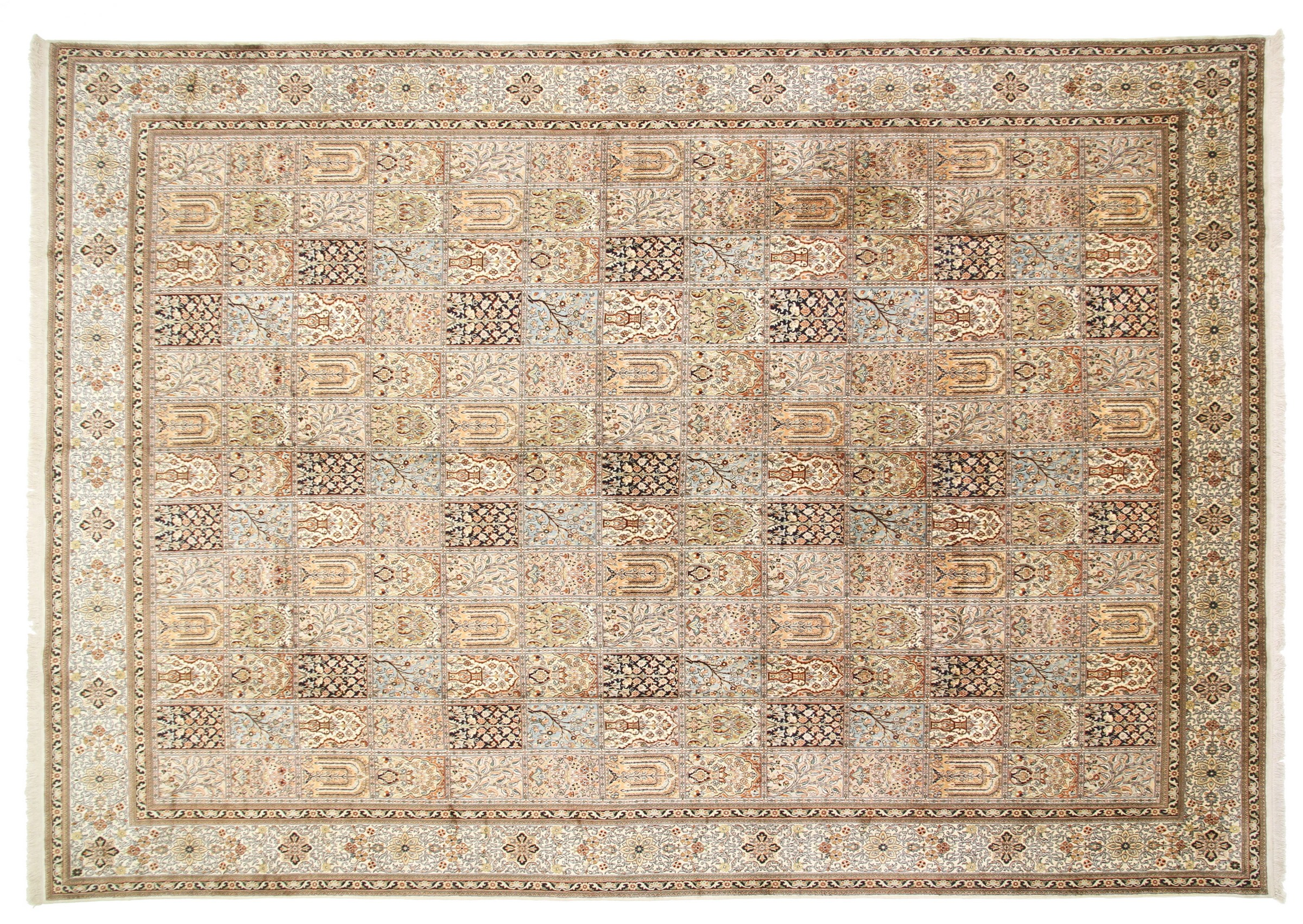 kaschmir reine seide indischer teppich 420x300 id20109. Black Bedroom Furniture Sets. Home Design Ideas