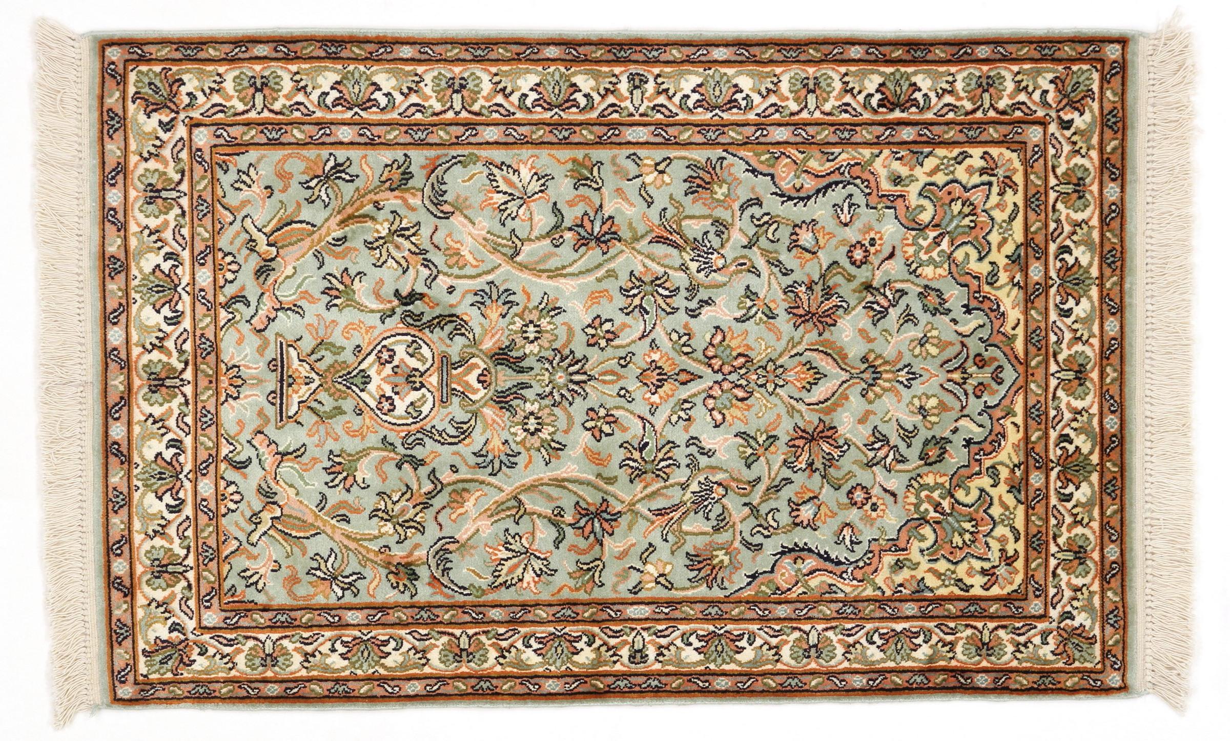 kaschmir reine seide indischer teppich 103x67 id20046. Black Bedroom Furniture Sets. Home Design Ideas