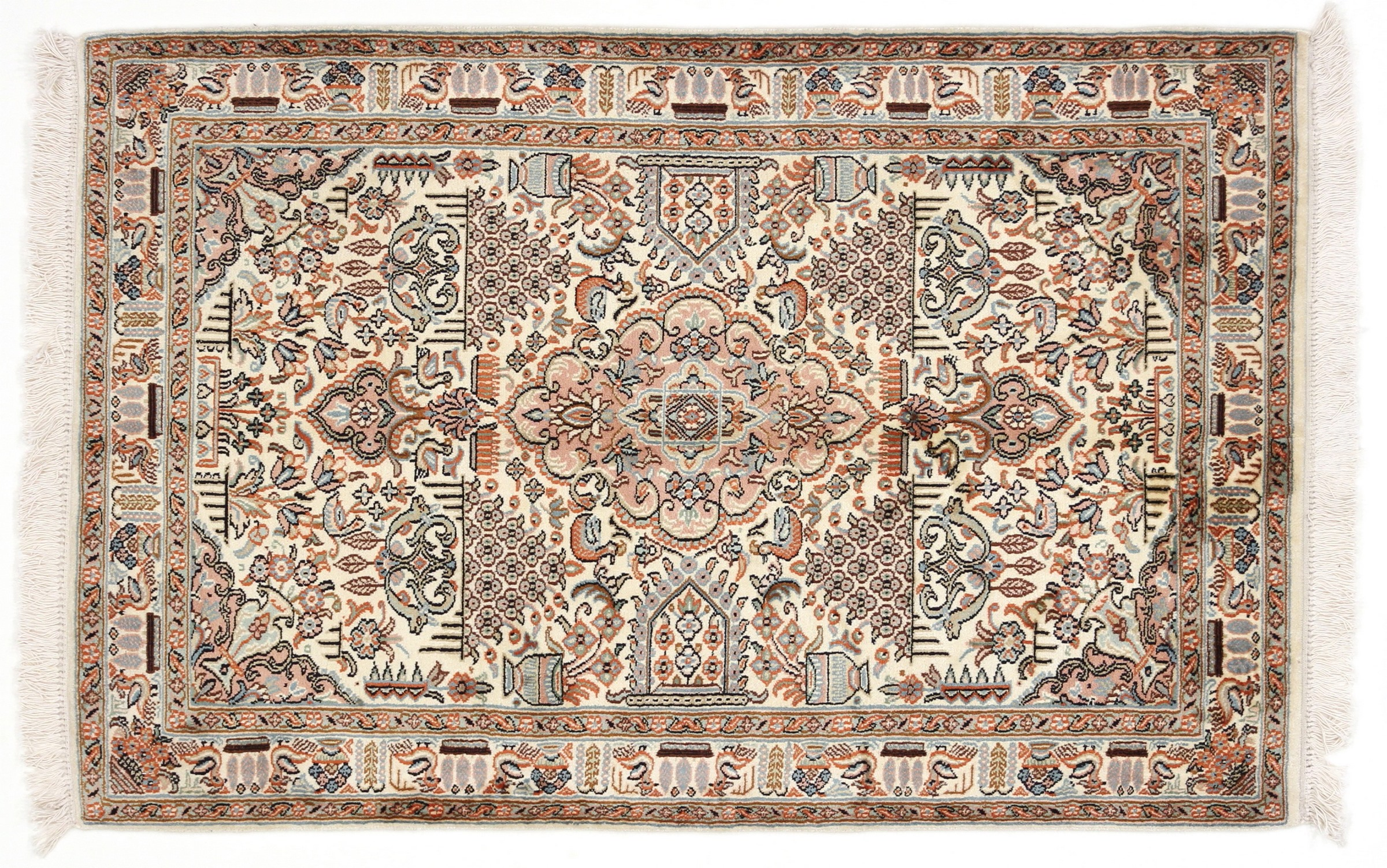 kaschmir reine seide indischer teppich 127x83 id20197 kaufen sie ihren orientteppich k 120x80. Black Bedroom Furniture Sets. Home Design Ideas