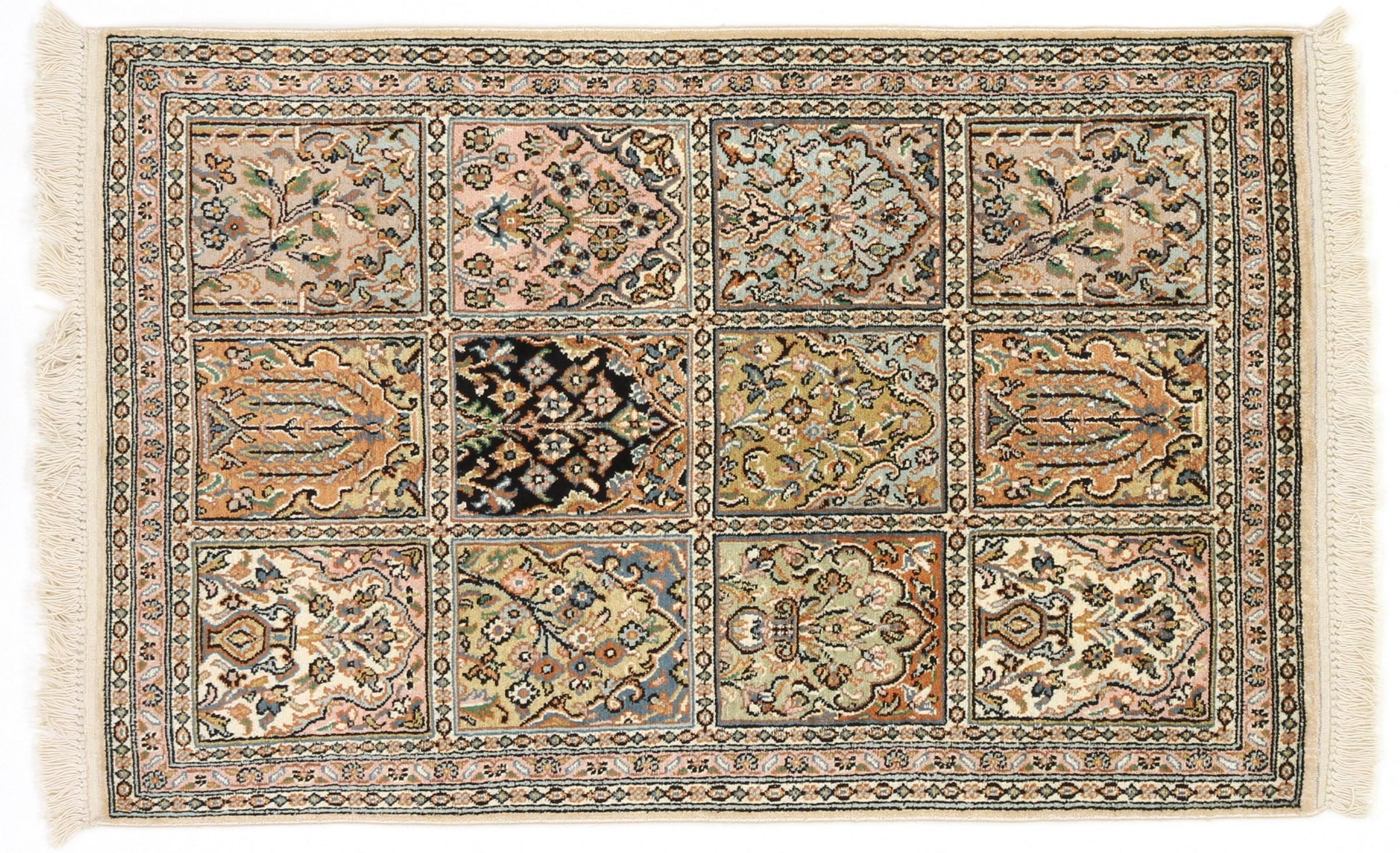 kaschmir reine seide indischer teppich 96x63 id20065. Black Bedroom Furniture Sets. Home Design Ideas