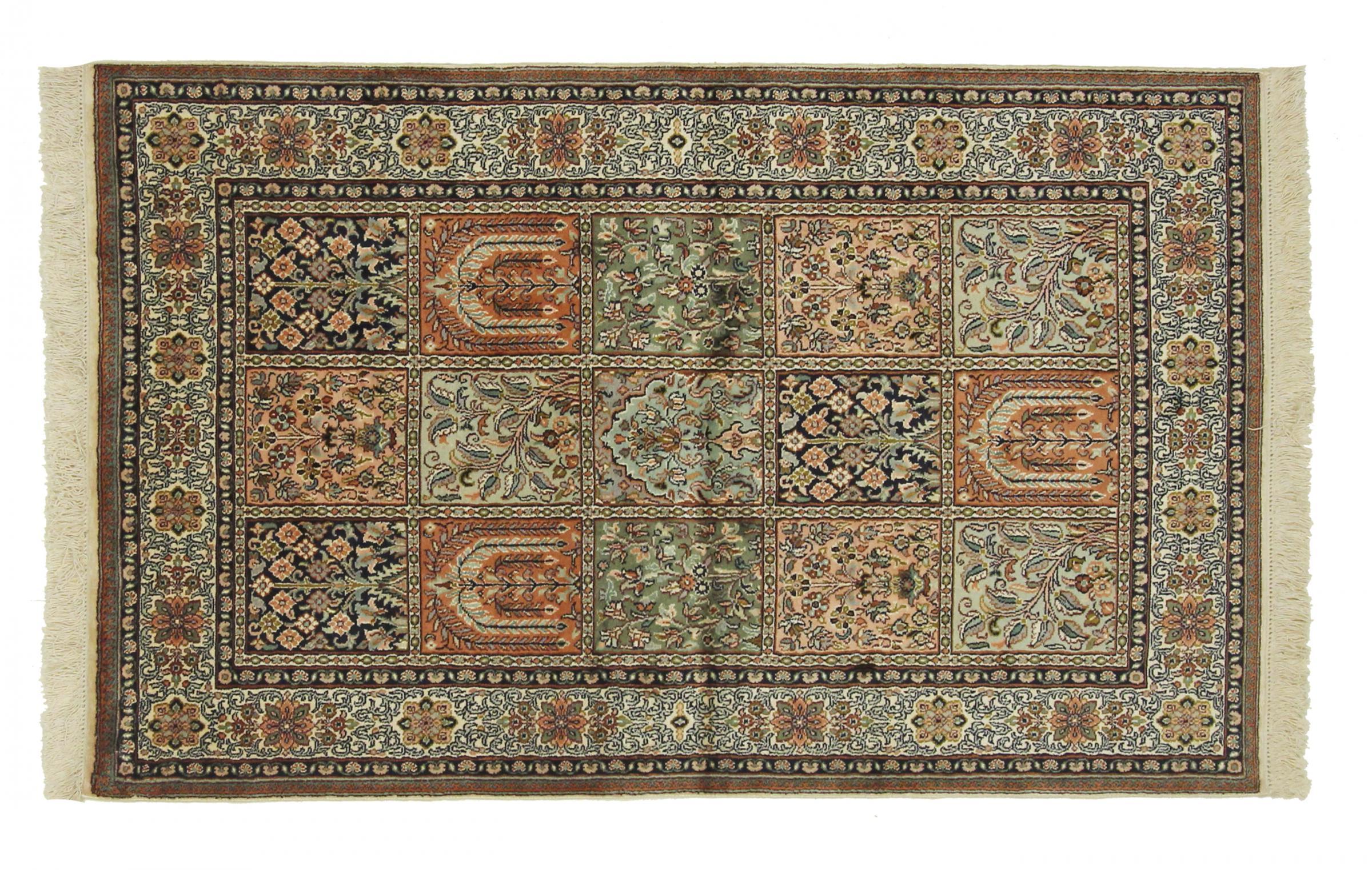 kaschmir reine seide indischer teppich 155x96 id22033. Black Bedroom Furniture Sets. Home Design Ideas
