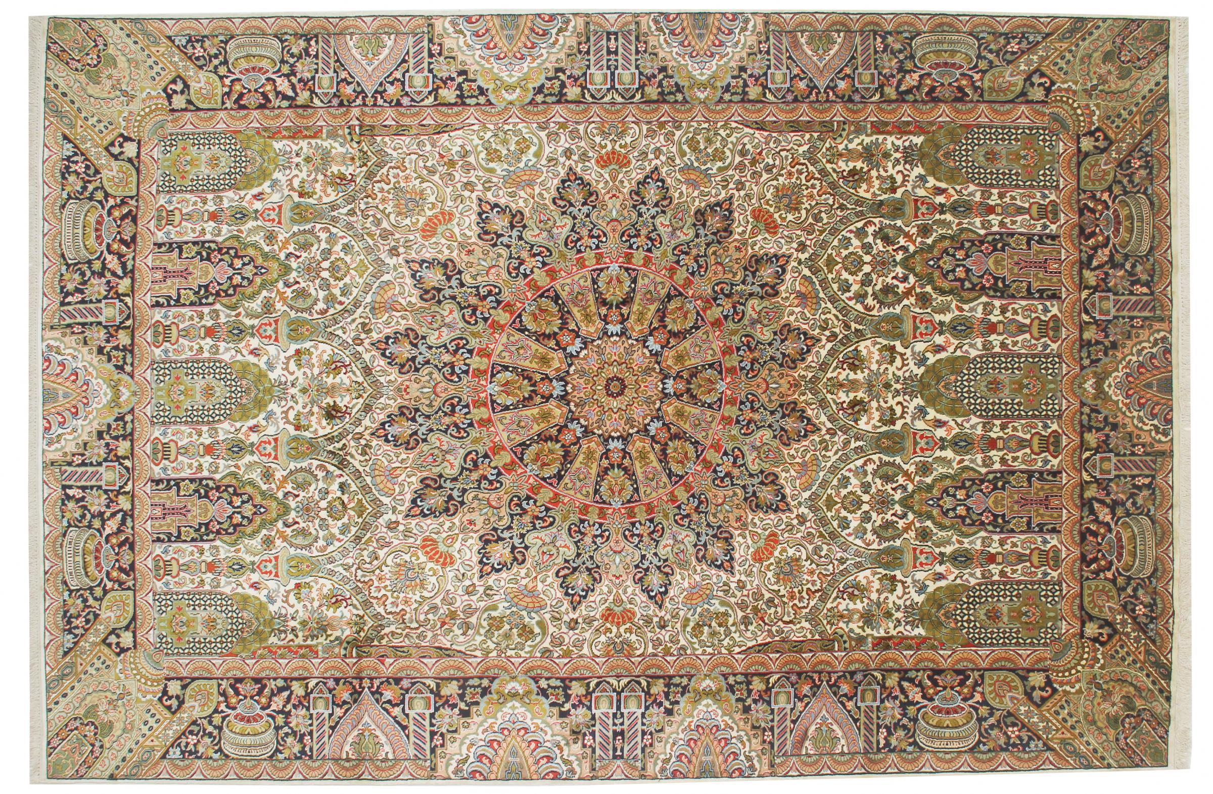 kaschmir reine seide indischer teppich 282x189 id33076. Black Bedroom Furniture Sets. Home Design Ideas