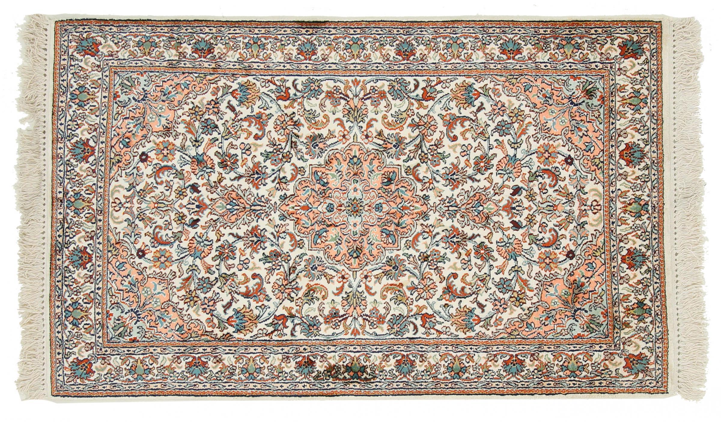 kaschmir reine seide indischer teppich 125x77 id19880. Black Bedroom Furniture Sets. Home Design Ideas