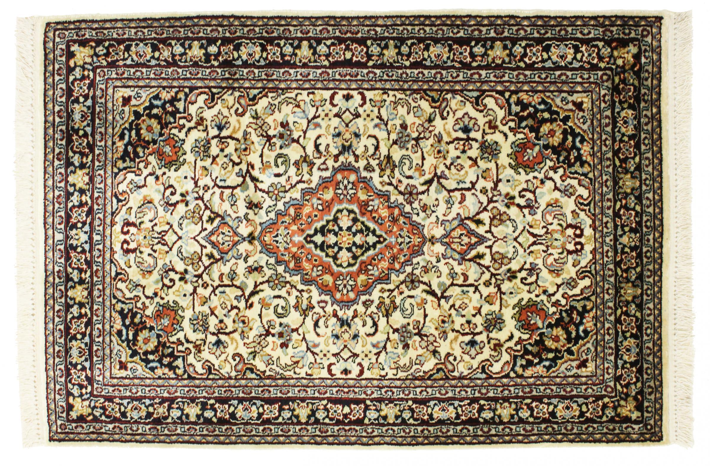 kaschmir reine seide indischer teppich 93x66 id33084. Black Bedroom Furniture Sets. Home Design Ideas