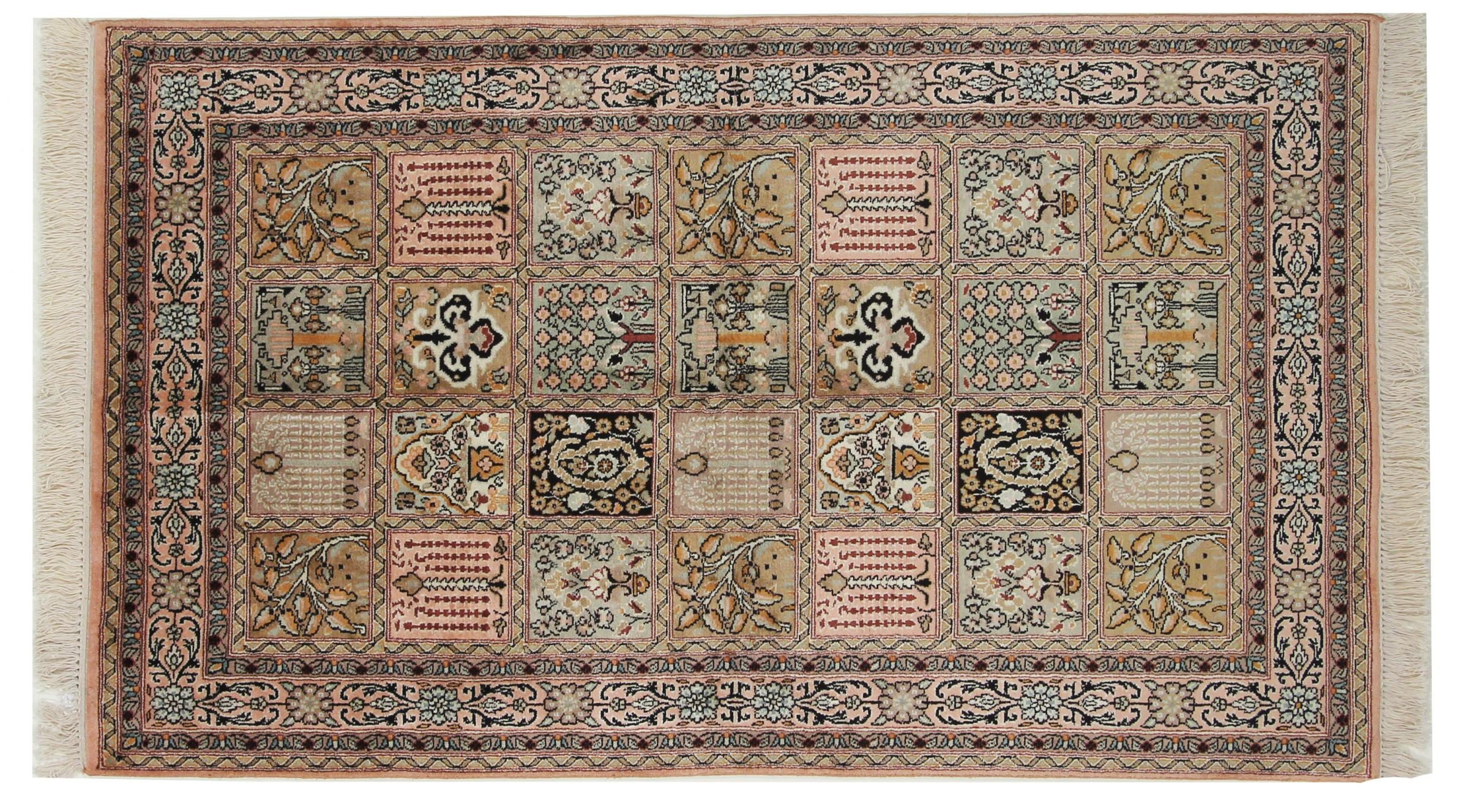 kaschmir reine seide indischer teppich 158x96 id33279. Black Bedroom Furniture Sets. Home Design Ideas