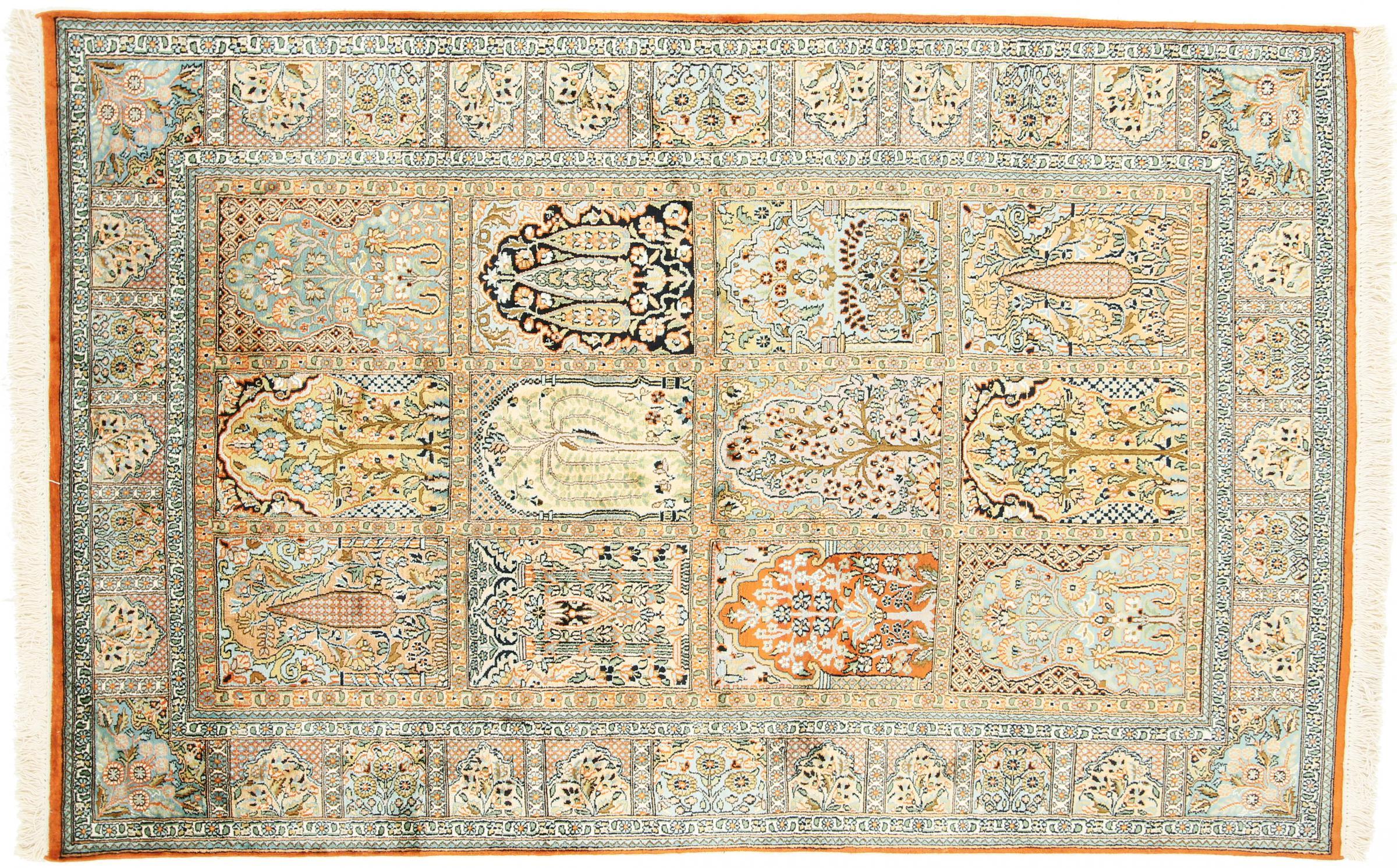 kaschmir reine seide indischer teppich 189x122 id19963. Black Bedroom Furniture Sets. Home Design Ideas