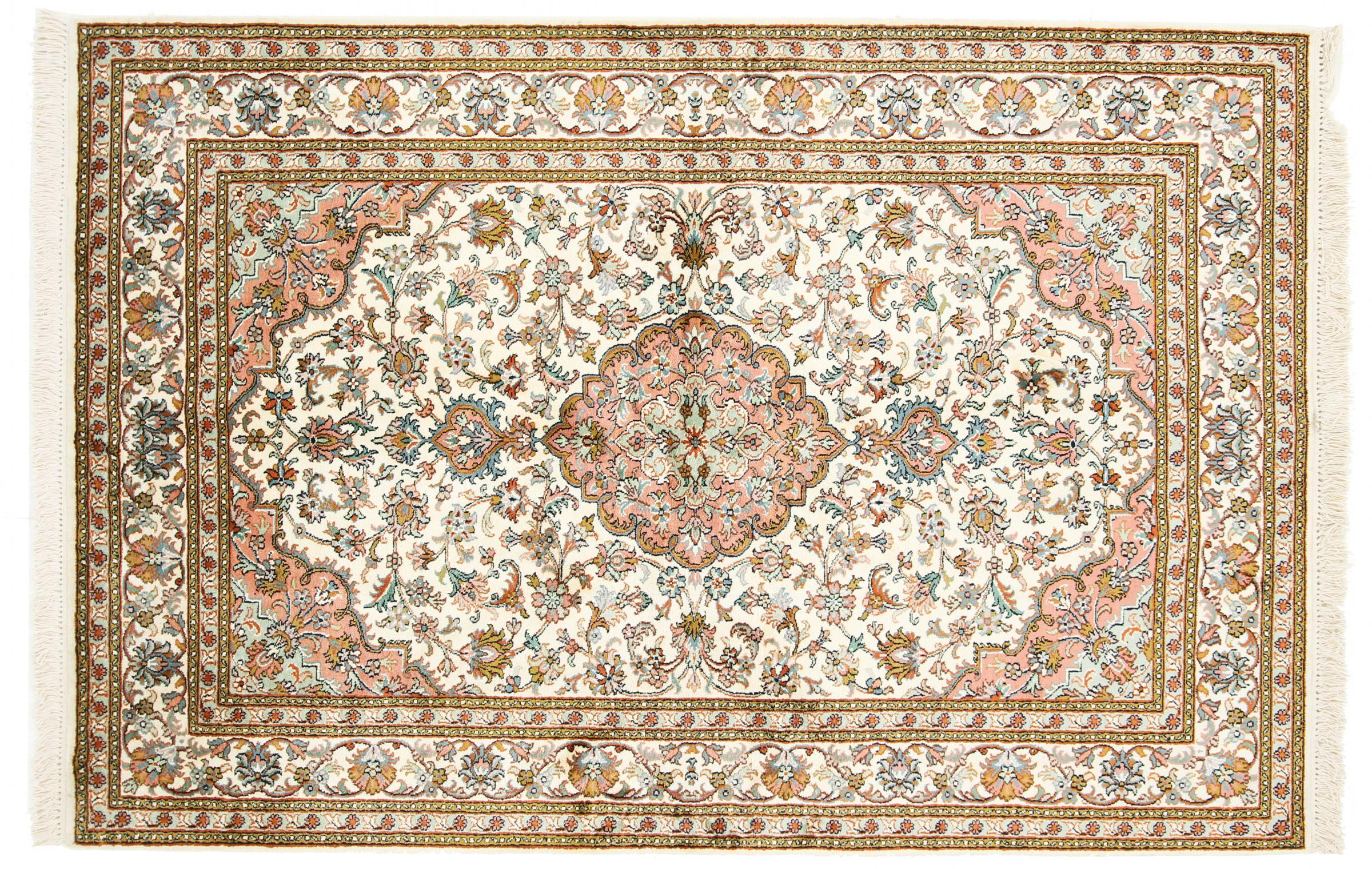 kaschmir reine seide indischer teppich 188x127 id19968. Black Bedroom Furniture Sets. Home Design Ideas