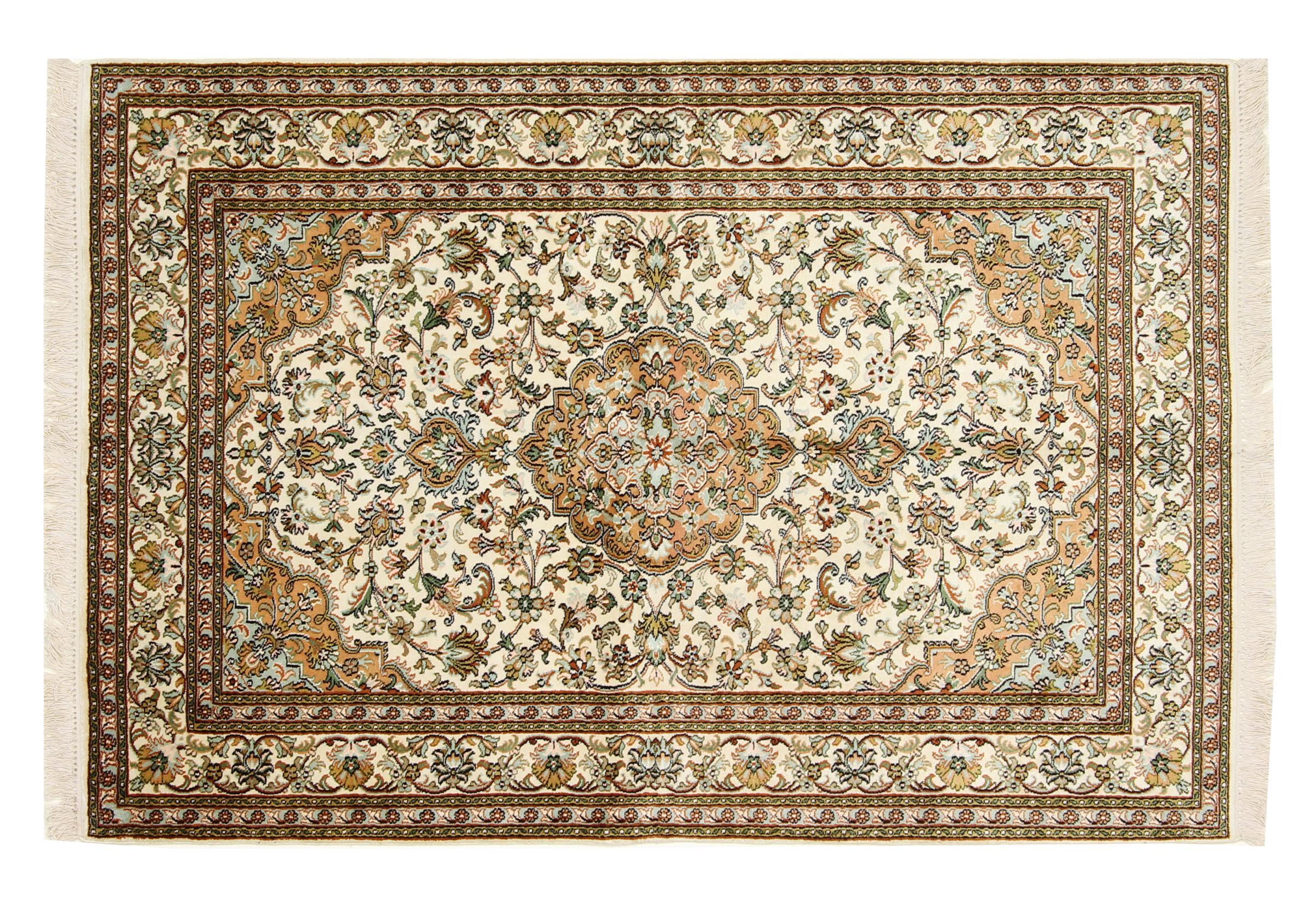 kaschmir reine seide indischer teppich 183x122 id33737 kaufen sie ihren orientteppich k. Black Bedroom Furniture Sets. Home Design Ideas