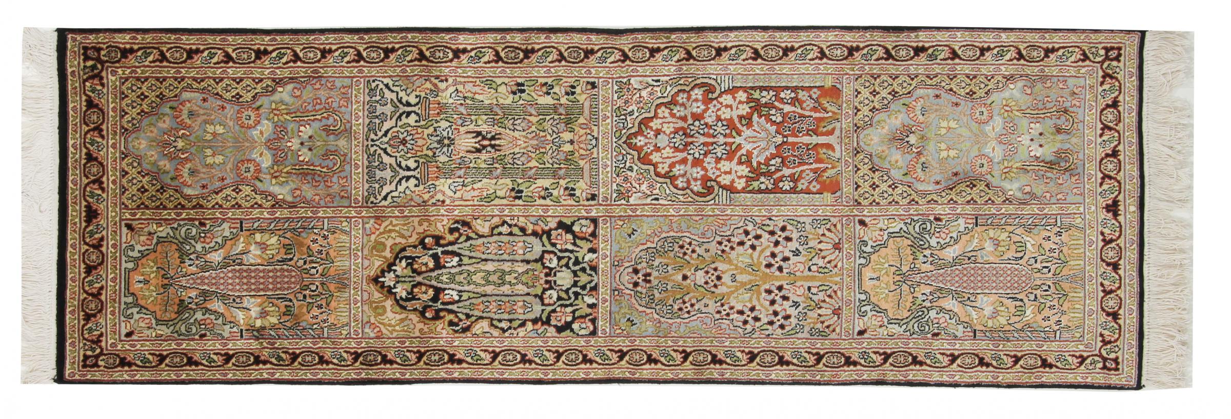 kaschmir reine seide indischer teppich 186x62 id33290. Black Bedroom Furniture Sets. Home Design Ideas