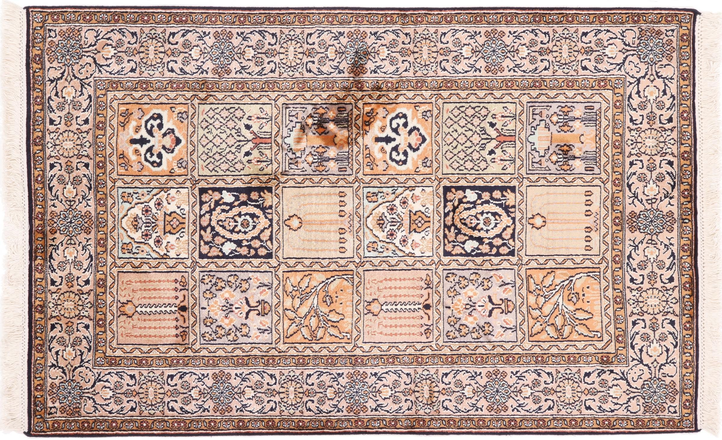kaschmir reine seide indischer teppich 123x80 id37051. Black Bedroom Furniture Sets. Home Design Ideas