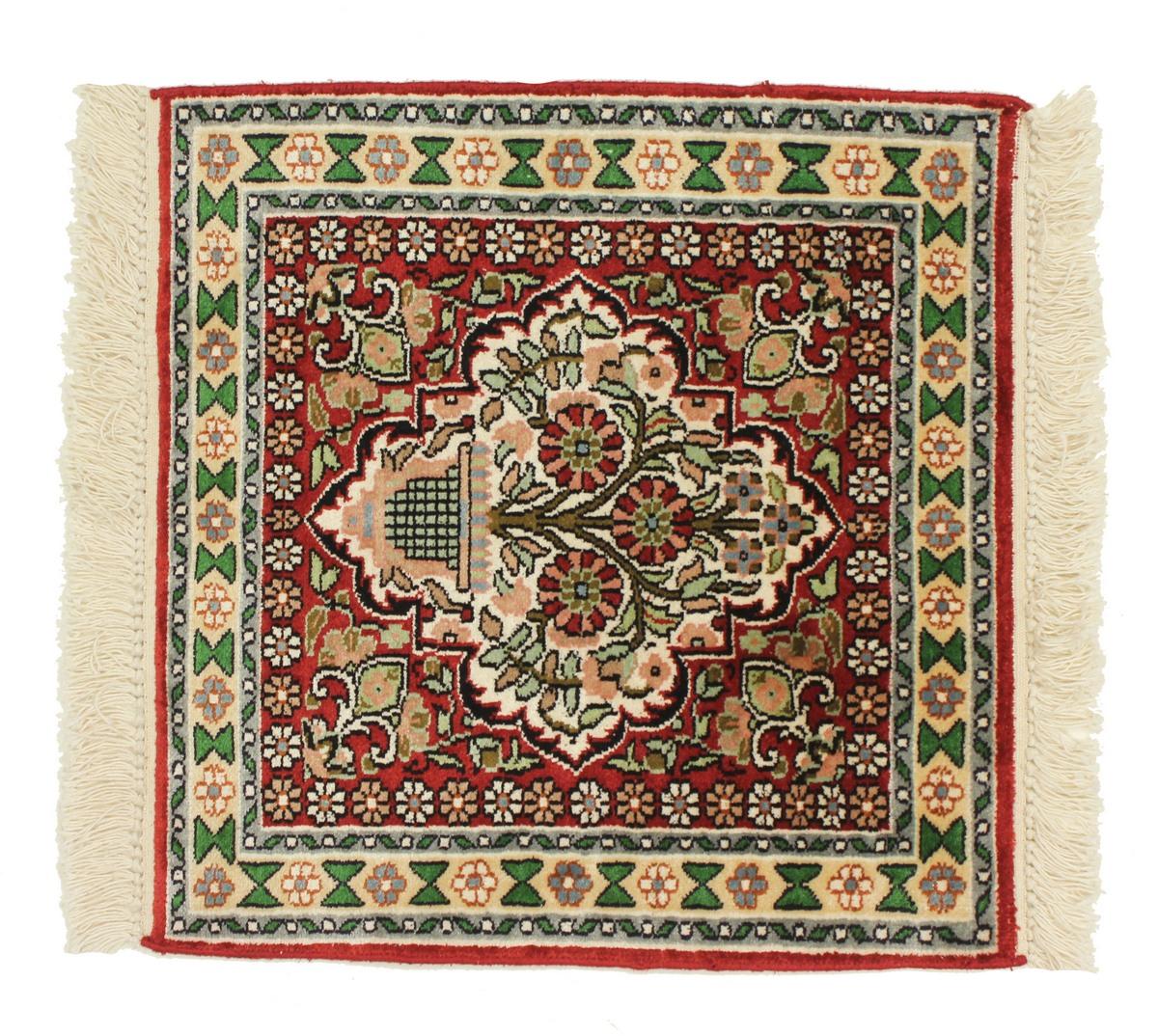 kaschmir reine seide indischer teppich 46x45 id13942. Black Bedroom Furniture Sets. Home Design Ideas